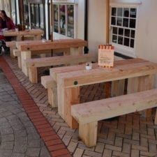 Row of Cranham picnic benches