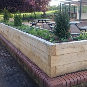 Oak Wooden Outdoor Sleeper Planters