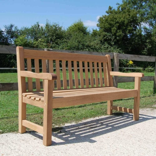 Poplar wooden memorial bench