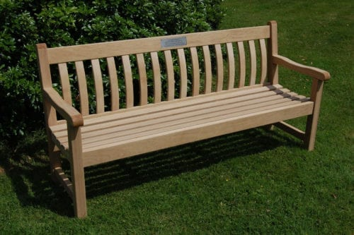 Tudor wooden memorial bench